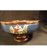 Antique Copper Luster Low Compote Blue Appliques - $12.00