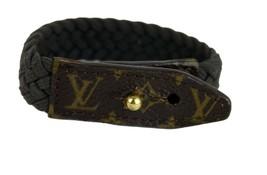 Auth Louis Vuitton Monogram Leather Braid Brown Bracelet Hand Band Acces... - $187.11
