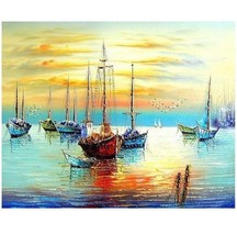 Paint By Number Kit Sailboat Sunrise Sea Drawing Craft DIY Picture 16x20... - $12.02