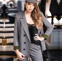 Spring Autumn Double Breasted Office Ladies Plaid Blazer suits sets Fashion Wome image 4