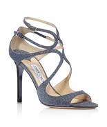 NIB Jimmy Choo Lang Navy Blue Fine Glitter Leather Sandals Heels 7 37  $... - $375.00