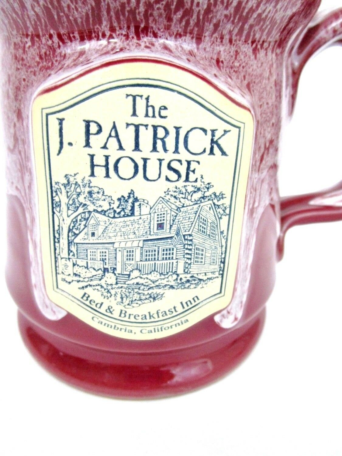J Patrick House Pottery Mug Cup Cambria CA Bed Breakfast Glazed Collectible
