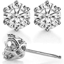 4 Ct Round Six prong Interwoven Push Back Vintage Stud Earring In 14K Wh... - $295.00