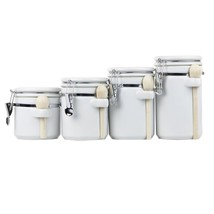 NEW! Ceramic Canister Set 4PC Storage With Wooden Spoon US - $44.44
