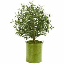 """Chic Multicolor 33"""" Olive Artificial Tree in Green Metal Planter - 33"""" - $146.04"""