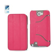 REIKO SAMSUNG GALAXY NOTE 2 FLIP FOLIO CASE WITH STAND IN HOT PINK - $5.75