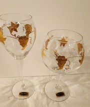 Wine Things Wine Glasses Grape Design Handmade in Romania Set of 2 14 ka... - $23.55