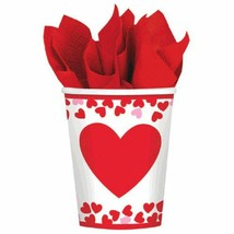 Confetti Hearts Valentines Day 8 Ct 9 oz Paper Cups - $2.66