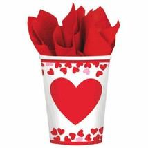 Confetti Hearts Valentines Day 8 Ct 9 oz Paper Cups - $2.66