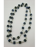Vintage Long Necklace with Blue / Green and Clear Crystal Glass Beads  (... - $49.00