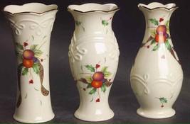 "Set Of 3 ""Lenox"" 5"" Bud Vases Motifs ""Holiday Tartan"" NIB NEW - $24.75"