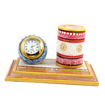 Handmade Decorated Marble Clock Table Clock Pencil/Pen Holder Set Desk O... - $48.00