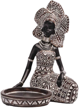 Lescafita African Lady Figurine Candle Holder with African Tribal Totem ... - $35.58