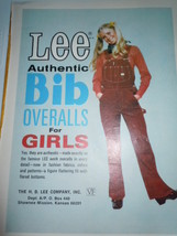Vintage Lee Authentic Bib Overalls for Girls Print Magazine Advertisement 1971  - $5.99