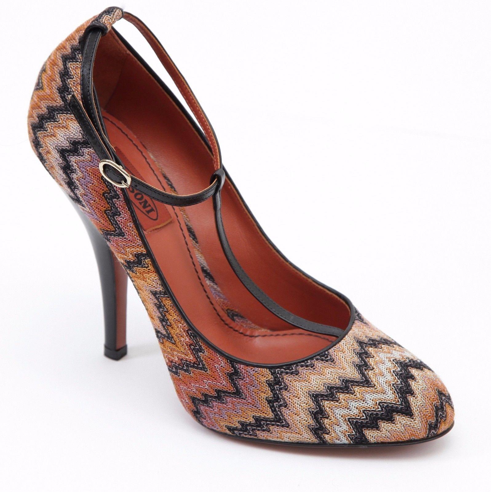 MISSONI Pump T-Strap Textile Orange Brown Leather Shoe Heel Sz 39 - £103.62 GBP