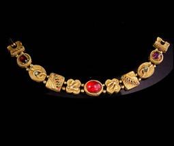 Vintage Victorian slide bracelet - bee snake cameo rhinestone slides / E... - $110.00