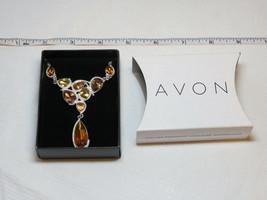 Ladies Womens Avon Autumn Colors Drop Necklace silvertone F3771111 NIP - $15.76