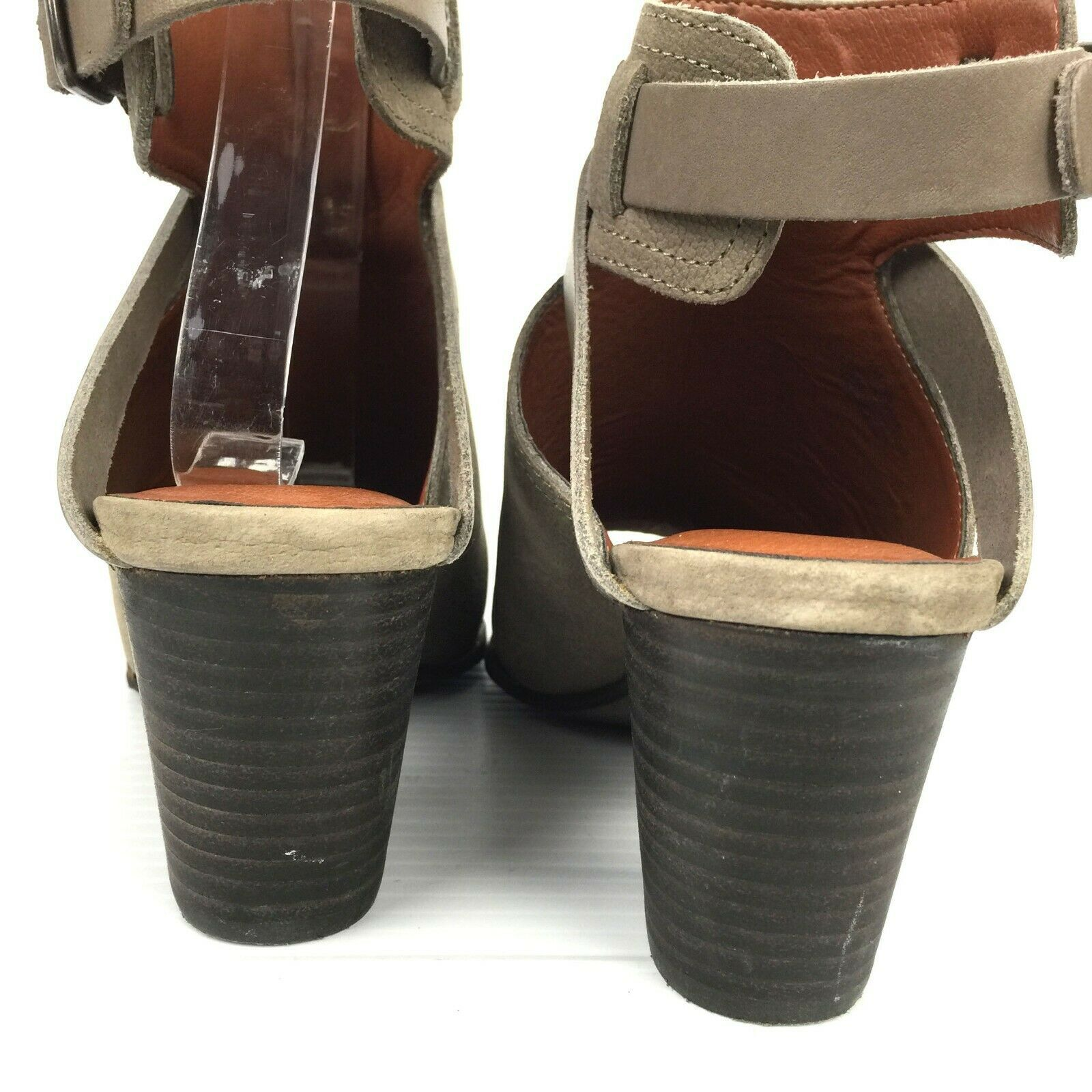"""LUCKY BRAND """"Harum"""" Taupe Bridle LeatherPeep Toe Open Back Booties Size 8 Med image 8"""