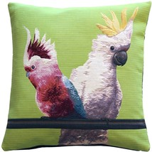 Pillow Decor - Cockatiel Birds Green Tapestry Throw Pillow - £61.02 GBP