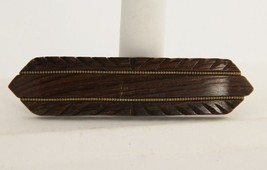 ESTATE VINTAGE Jewelry HAND CARVED WOOD & BRASS INLAY BAR PIN BROOCH - $15.00