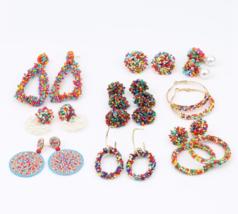 Beads Earrings Bohemia Handmade Large Colorful Statement Drop Earrings Gift - $5.93+