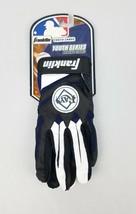 Franklin Youth Series Batting Gloves 1 White/Black/Blue MLB Rays Size L ... - $14.27