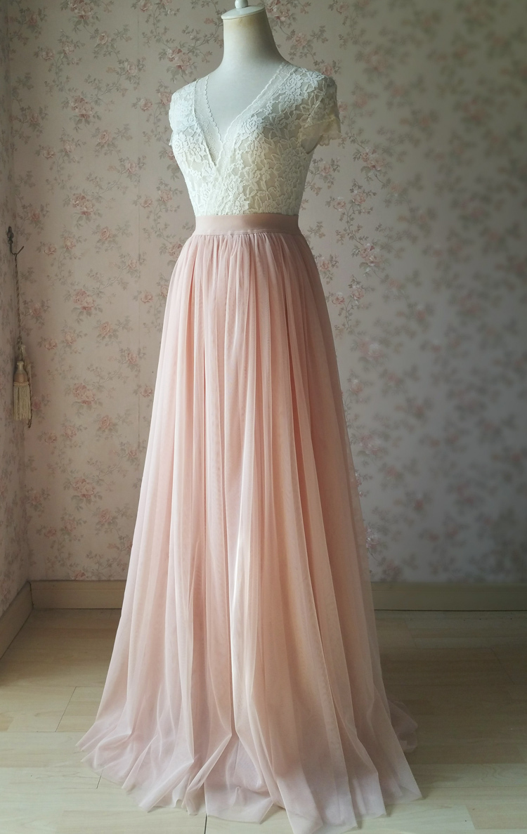 Blush pink tulle skirt bridesmaid new 1