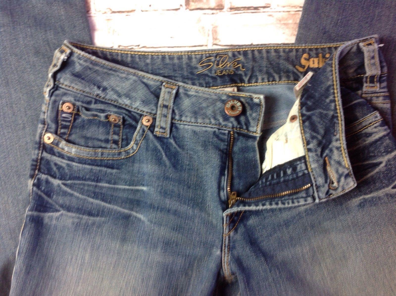 Buckle SILVER AIKO Faux Flap Skinny Low Rise Stretch Dark Blue Jeans Sz 28 x 31