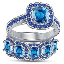 White Gold Plated 925 Silver Bridal Engagement Ring Set Cushion Cut Blue... - $110.74