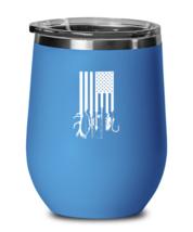 Fishing and Hunting Wine Glass Hunting and Fishing American Flag Blue-WG  - $25.95