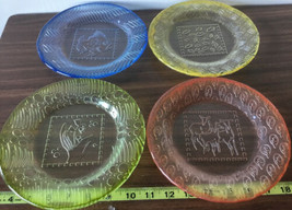 KOSTA BODA PLATES SET OF 4 FISH LIPS FLOWER DEER GLASS COLORFUL Y - $69.29