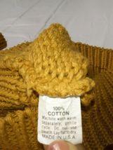 Vtg Ellis Island Men Sweater XL Mustard Yellow Crewneck Chunky Cardigan Pullove image 7