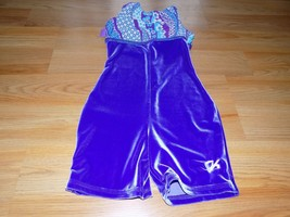 Child Size Medium GK Elite Purple Velour Biketard Unitard Leotard Floral... - $16.00
