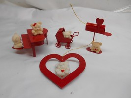Old Vtg Metal BEAR Christmas Holiday ORNAMENTS Set 4 decor Teddy Bears - $9.89