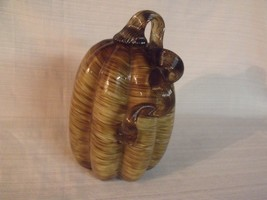 """NICOLE MILLER LARGE 9 1/2"""" HAND BLOWN ART GLASS PUMPKIN - $39.60"""
