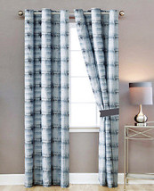 4-Pc West Stone Wash Antique Pattern Curtain Set Blue White Brown Grommet Sheer - $40.89