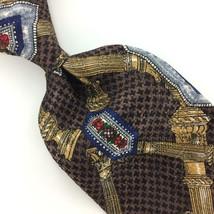 Wembley USA Houndstooth Column Link Brown Gold Red Silk Necktie Ties H3-... - $19.79