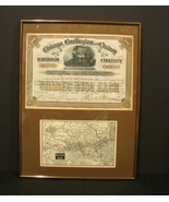 Authentic 1884 Chicago,Burlington and Quincy 100 Shares Stock Cert. Rout... - $29.90