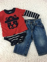 Baby Gap Boys Outfit Shirt One Piece Jeans 6 12 Months Pirate Dog Long S... - $19.79