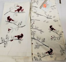 "SET OF 2 SAME PRINTED TERRY TOWELS (15"" x 25"") CHRISTMAS SMALL CARDINAL ... - $10.88"