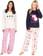 Ladies Women Fleece Winter Sheep and owl Pyjamas Set Pink Crimson In S - XL - $27.08