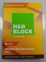 Sealed H&R Block Basic 2018 Simple Tax Solutions Tax Software Traditiona... - $8.38