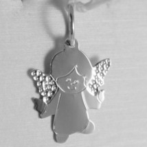SOLID 18K WHITE GOLD PENDANT FLAT GUARDIAN ANGEL ENGRAVABLE MADE IN ITALY image 1