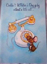 Vintage Aust Craft Mouse & Phone Father's Day Card 1960s - $2.99