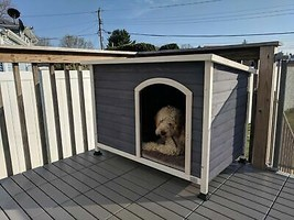 """A4Pet Outdoor Wooden Dog House S:34"""" L X 22.5"""" W X 24"""" H - $132.99"""