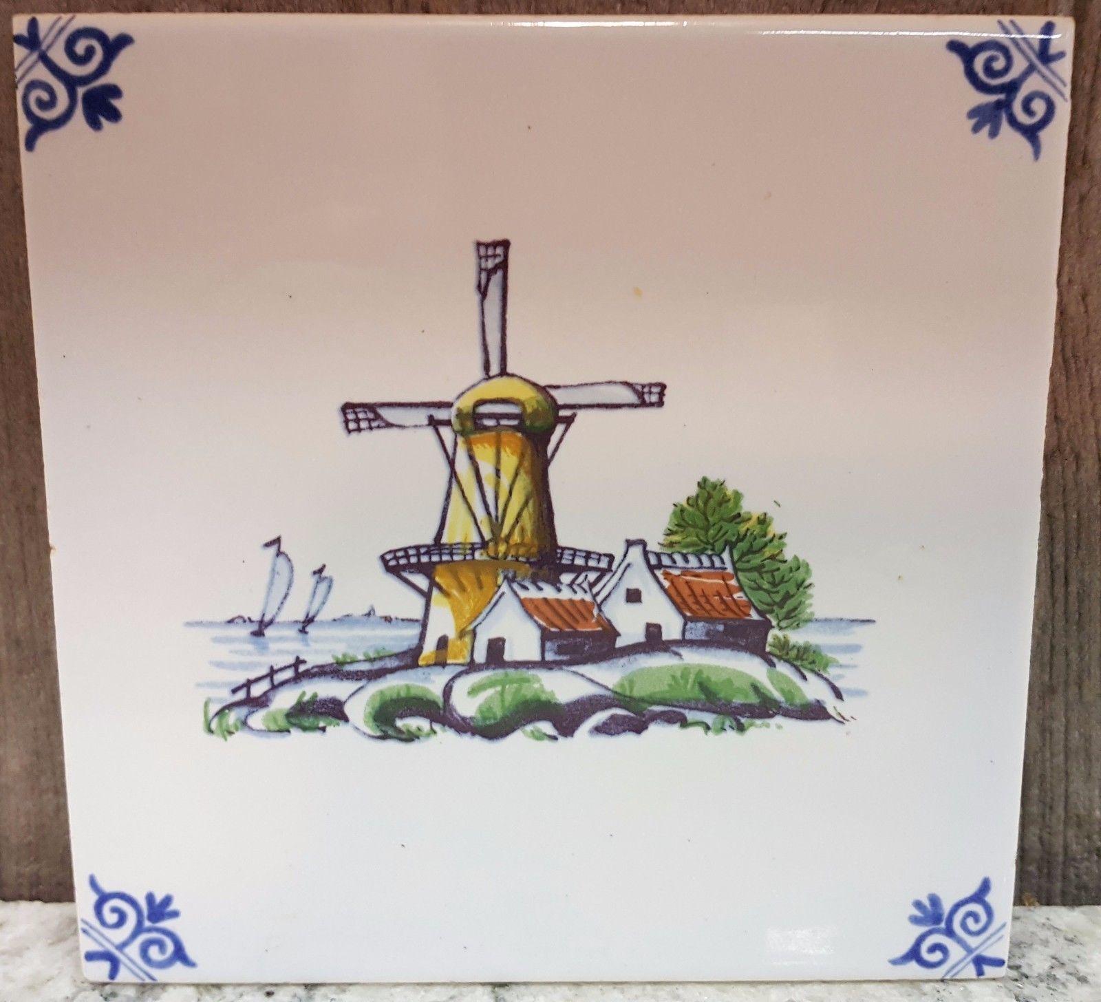 """Vintage Holland Scene Color Tile Windmill Dutch Souvenir 5"""" x 5"""" 1978 Note Back"""