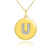 "10k Yellow Gold Letter ""U"" Initial Diamond Disc Charm Pendant Necklace - $166.59+"