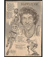 John Havlicek Basketball Sports Cartoon Newspaper Clipping Sketch - $10.99