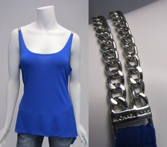 Michael Kors Blue Chain Strap Asymmetrical Bottom Top Sz L or XL MSRP $120 - $24.94