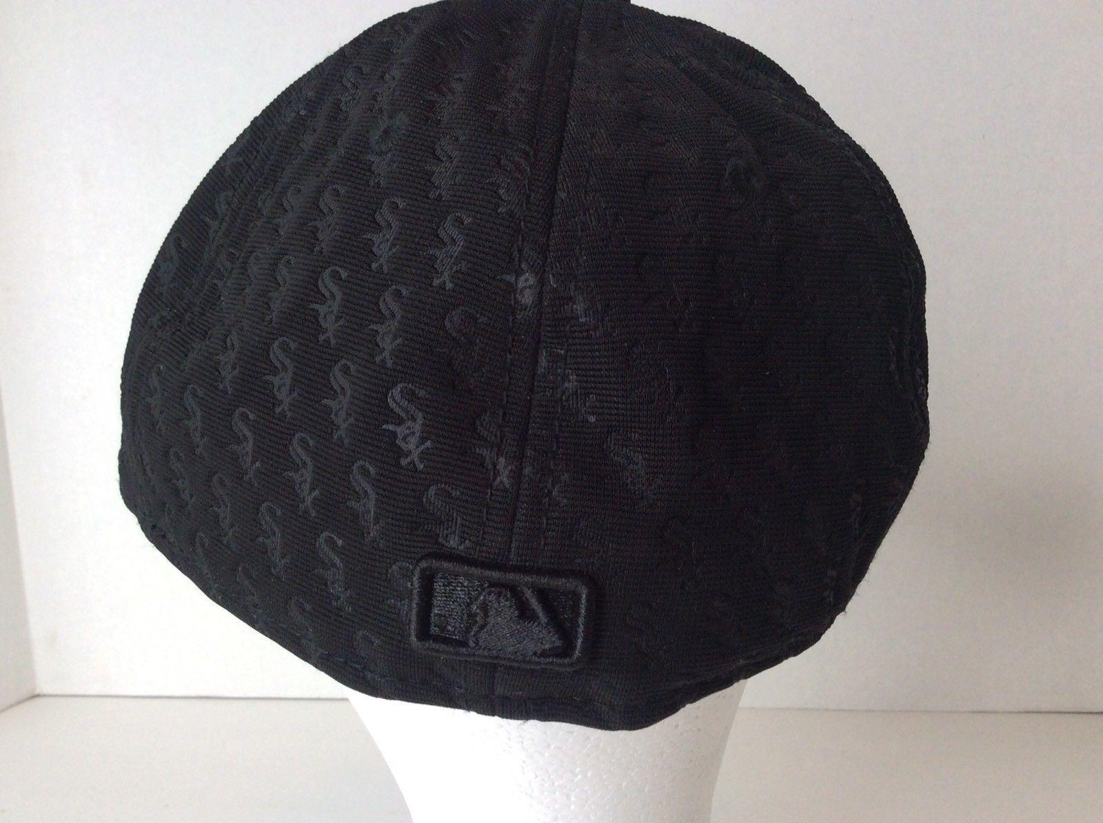 New Era MLB Chicago White Sox All Over Print Black Fitted Baseball Cap Hat SZ 7